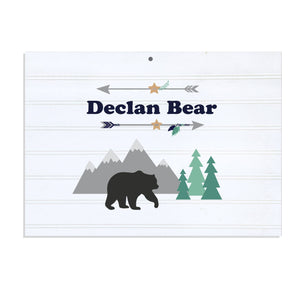Personalized Vintage Nursery Sign with Mountain Bear design