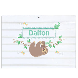 Personalized Vintage Nursery Sign with Slothie design