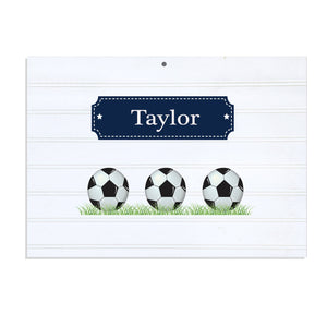 Personalized Vintage Nursery Sign with Soccer Balls design