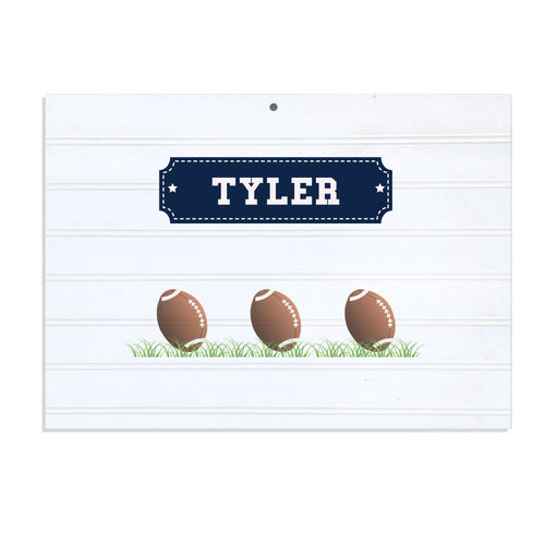 Personalized Vintage Nursery Sign with Footballs design