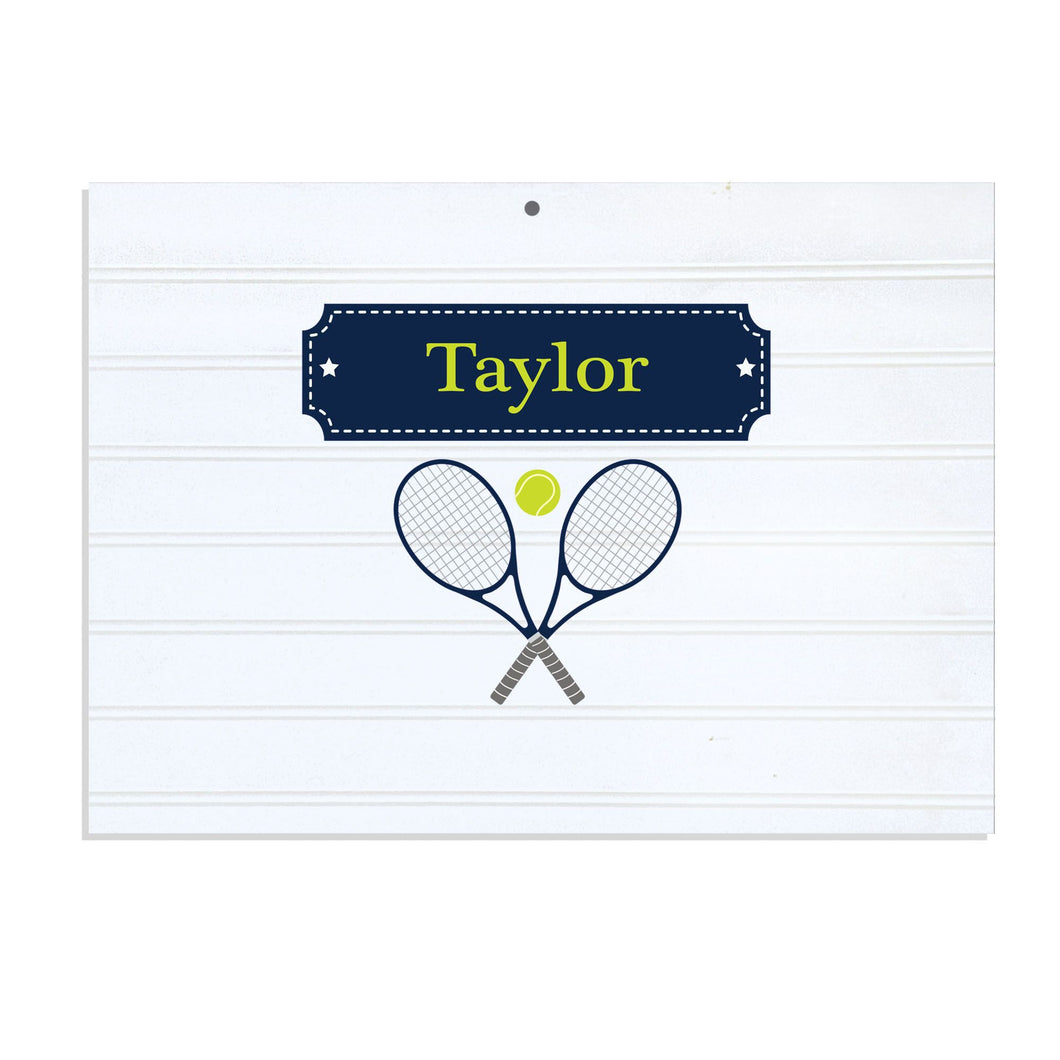 Personalized Vintage Nursery Sign with Tennis design