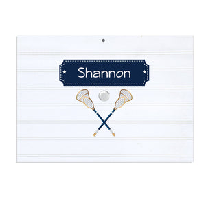 Personalized Vintage Nursery Sign with Lacrosse Sticks design