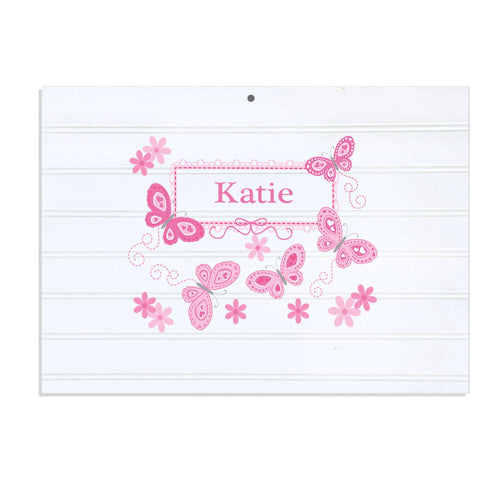 Personalized Vintage Nursery Sign with Butterflies Pink design