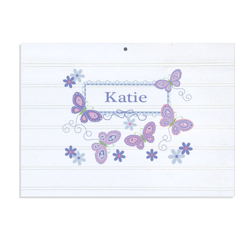 Personalized Vintage Nursery Sign with Butterflies Lavender design