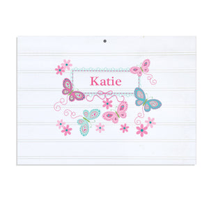 Personalized Vintage Nursery Sign with Butterflies Aqua Pink design