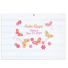 Custom Vintage Nursery Sign - Pink Yellow Butterflies