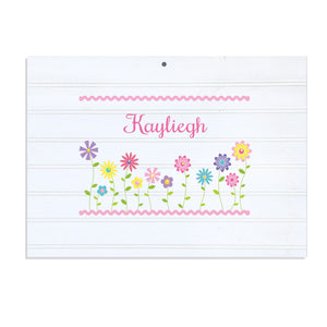 Personalized Vintage Nursery Sign with Stemmed Flowers design