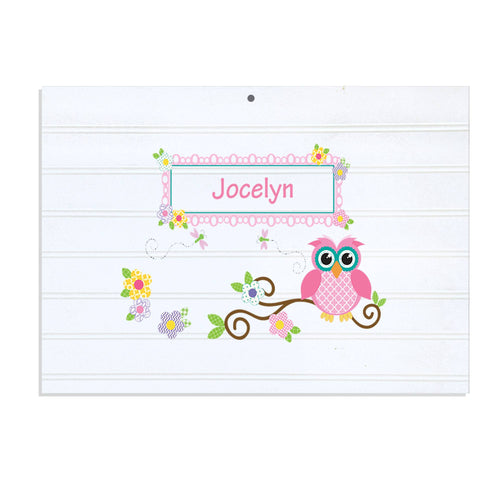 Personalized Vintage Nursery Sign with Pink Owl design