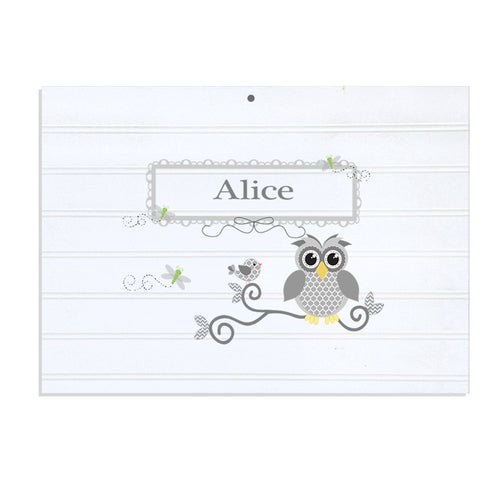 Personalized Vintage Nursery Sign with Gray Owl design
