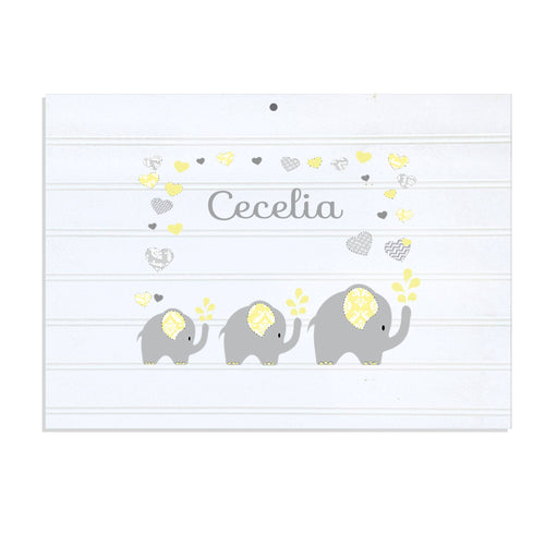 Personalized Vintage Nursery Sign with Yellow Elephants design