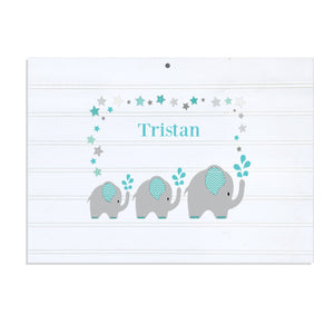 Personalized Vintage Nursery Sign with Grey and Teal Elephant design