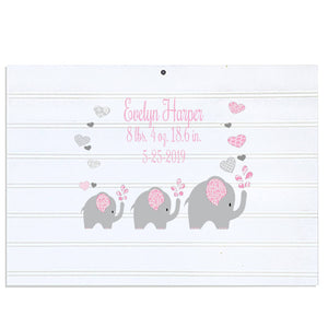 Custom Vintage Nursery Sign - Pink Elephant