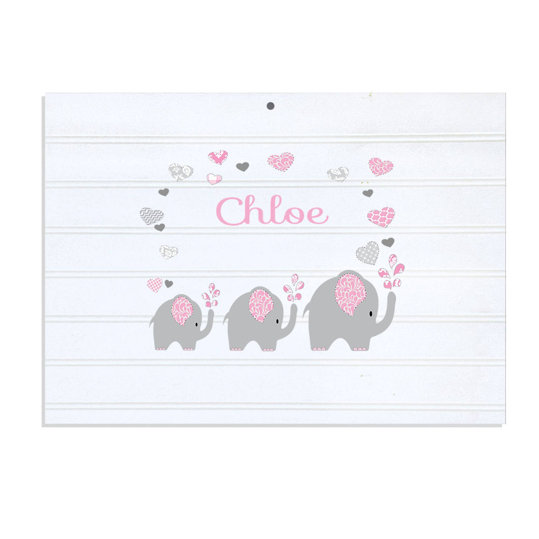 Personalized Vintage Nursery Sign with Pink Elephant design