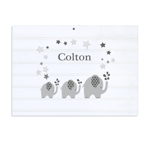 Personalized Vintage Nursery Sign with Gray Elephant design