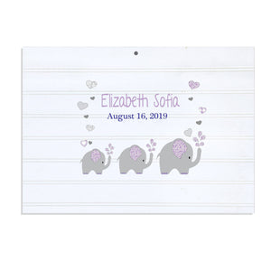 Custom Vintage Nursery Sign - Lavender Elephant