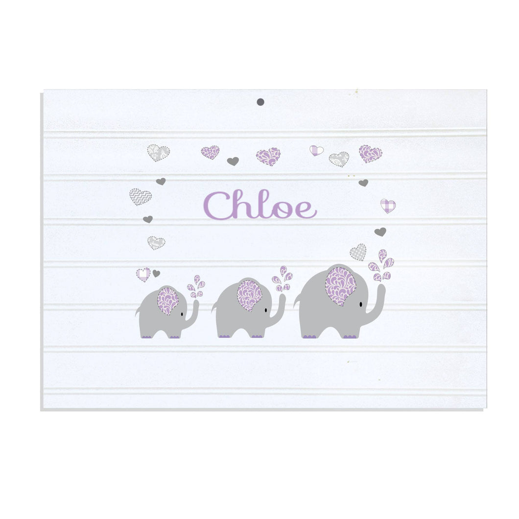 Personalized Vintage Nursery Sign with Lavender Elephant design