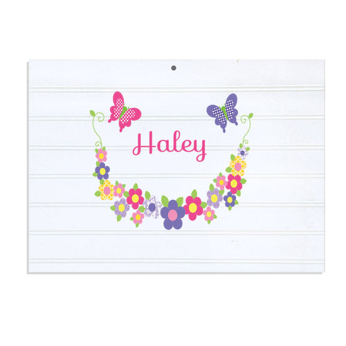 Personalized Vintage Nursery Sign with Bright Butterflies Garland design