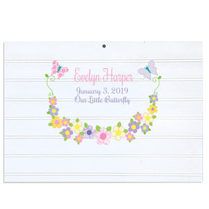 Custom Vintage Nursery Sign - Pastel Butterfly Garland