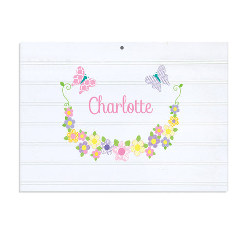 Personalized Vintage Nursery Sign with Pastel Butterflies design