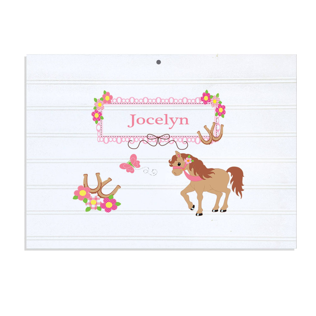 Personalized Vintage Nursery Sign with Ponies Prancing design
