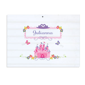 Personalized Vintage Nursery Sign with Princess Castle design