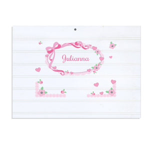 Personalized Vintage Nursery Sign with Pink Bow design