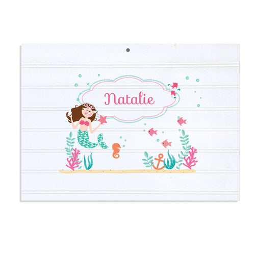 Personalized Vintage Nursery Sign with Brunette Mermaid Princess design