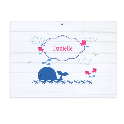 Personalized Vintage Nursery Sign with Pink Whale design