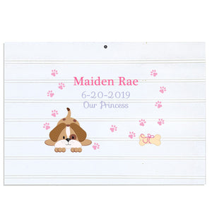 Custom Vintage Nursery Sign - Pink Puppy