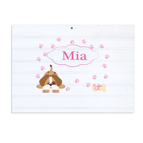 Personalized Vintage Nursery Sign with Pink Puppy design