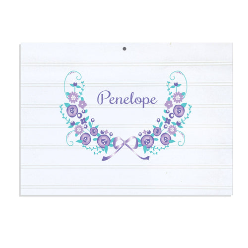 Personalized Vintage Nursery Sign with Lavender Floral Garland design
