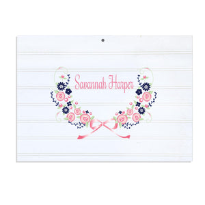 Personalized Vintage Nursery Sign with Navy Pink Floral Garland design