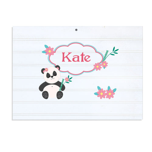 Personalized Vintage Nursery Sign with Panda Bear design