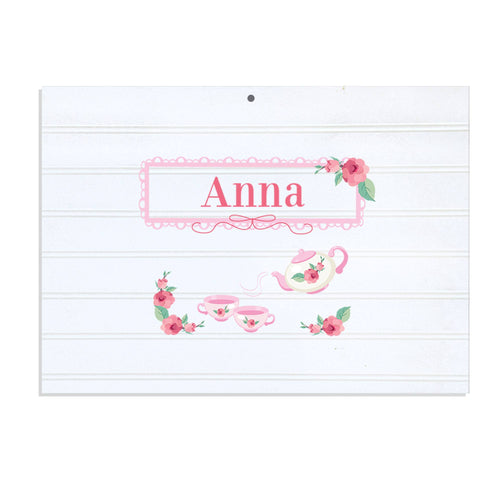 Personalized Vintage Nursery Sign with Tea Party design