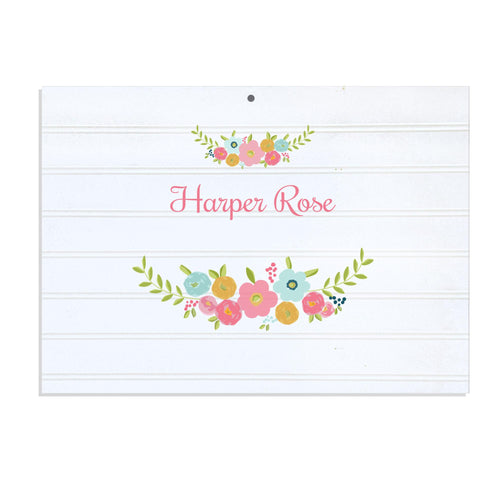 Personalized Vintage Nursery Sign with Spring Floral design