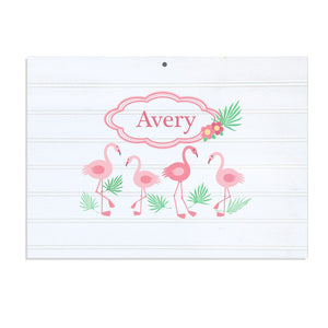 Personalized Vintage Nursery Sign with Palm Flamingo design