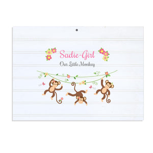 Custom Vintage Nursery Sign - Monkey Girl