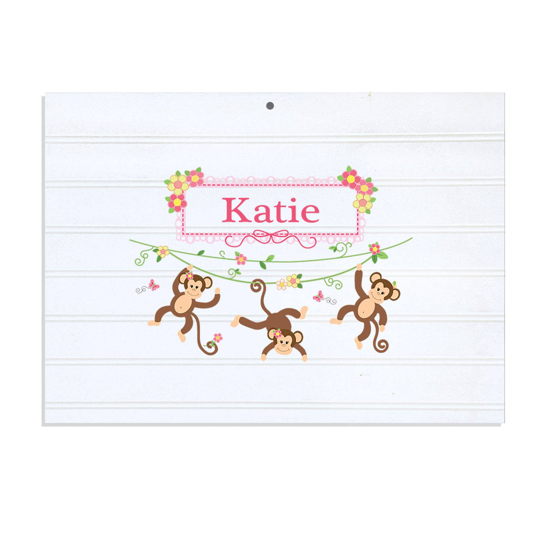 Personalized Vintage Nursery Sign with Monkey Girl design