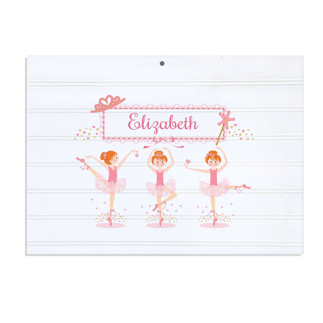 Personalized Vintage Nursery Sign with Ballerina Red Hair design