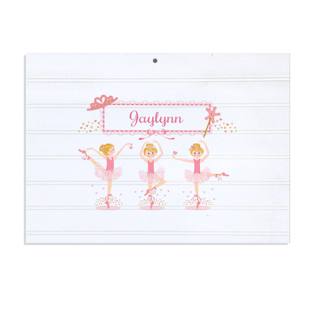 Personalized Vintage Nursery Sign with Ballerina Blonde design