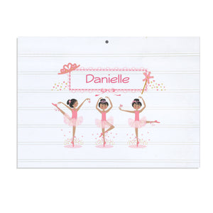 Personalized Vintage Nursery Sign with Ballerina Black Hair design
