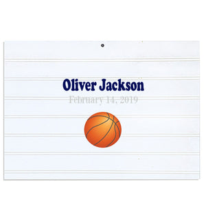 Custom Vintage Nursery Sign - Single Basketball