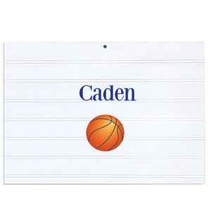 Personalized Vintage Nursery Sign with Single Basketball design