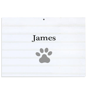 Personalized Vintage Nursery Sign with Single Paw Print design