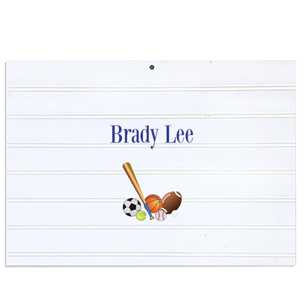 Personalized Vintage Nursery Sign with Single Sports Balls design