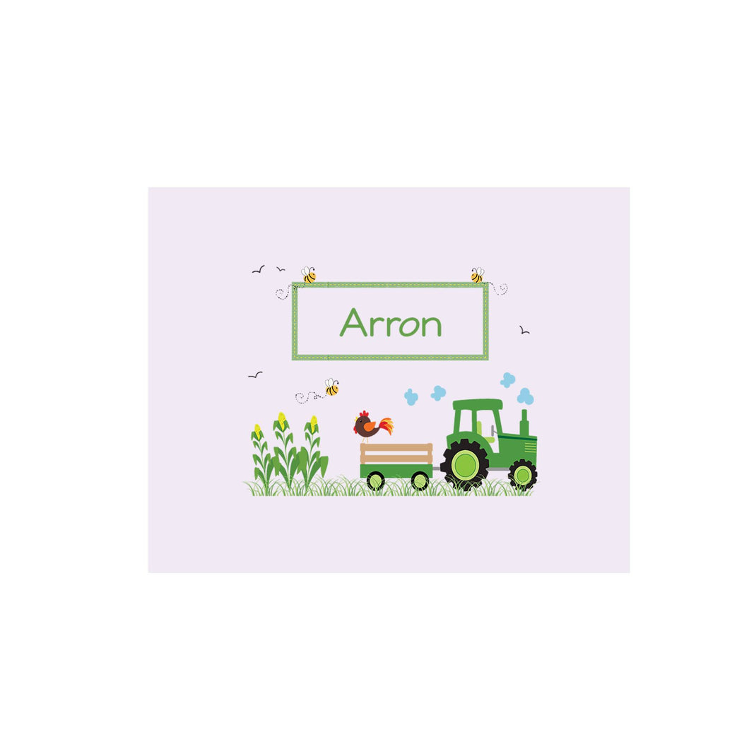 Personalized Wall Canvas with Green Tractor design