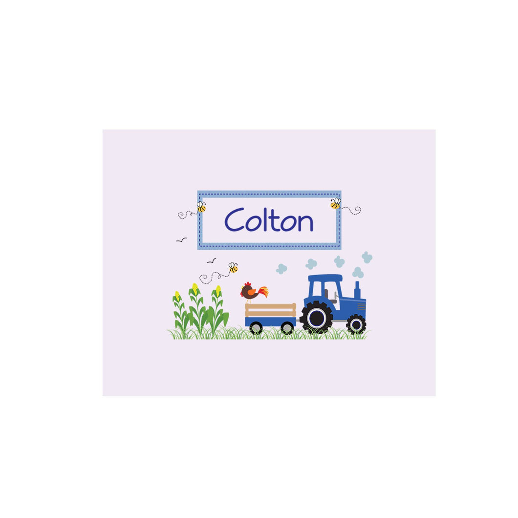 Personalized Wall Canvas with Blue Tractor design