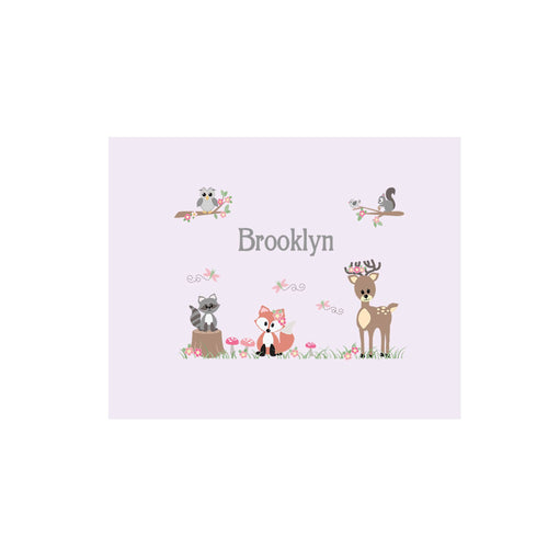 Personalized Wall Canvas with Gray Woodland Critters design