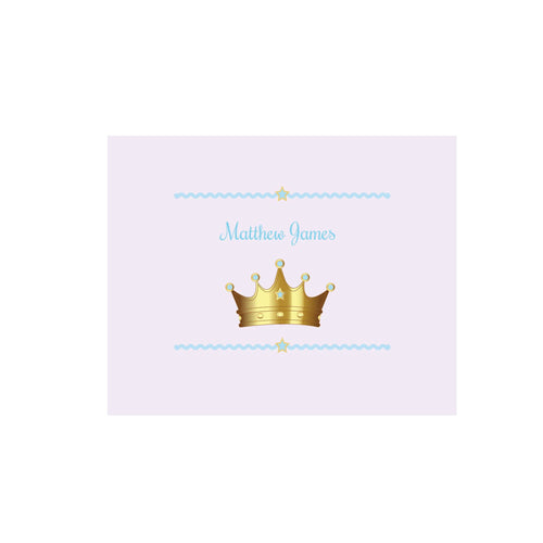 Personalized Wall Canvas with Prince Crown Blue design