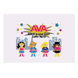 Custom Wall Canvas -Girl's Superhero